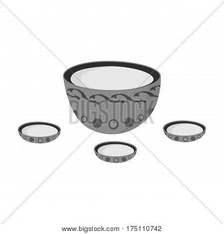 A plate with three cups and Mongolian ornaments.The national dish of the Mongols.Mongolia single icon in monochrome style vector symbol stock web illustration.