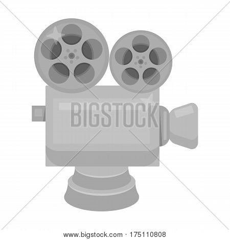 Silver camera with film.The award for the best filming of the movie.Movie awards single icon in monochrome style vector symbol stock web illustration.