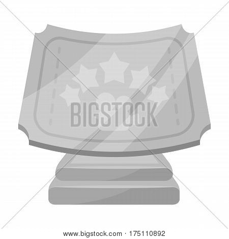 Silver prize with star, and camera on a stand.Movie awards single icon in monochrome style vector symbol stock web illustration.