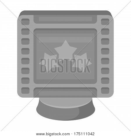 Award in the form of a video tape for best actor.Movie awards single icon in monochrome style vector symbol stock web illustration.