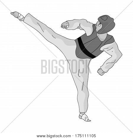 Taekwondo fighter in white kimono and red protection sports.Olympic sports single icon in monochrome style vector symbol stock web illustration.