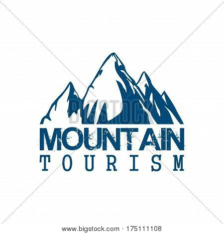 Alpine mountain vector icon of tourism or climbing sport. Emblem of blue Alp rocks and snow peaks for hiking or mountaineering adventure expedition, winter nature explorer camping trip