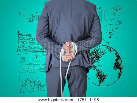 Digital composite image of businessman hands tied up with rope against graphic business concept