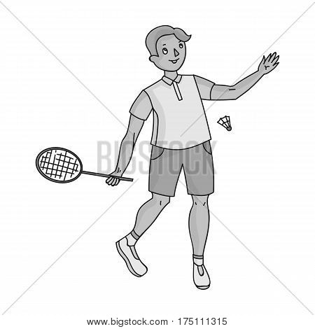 Young people involved in badminton. The game of badminton with a partner.Olympic sports single icon in monochrome style vector symbol stock webillustration.