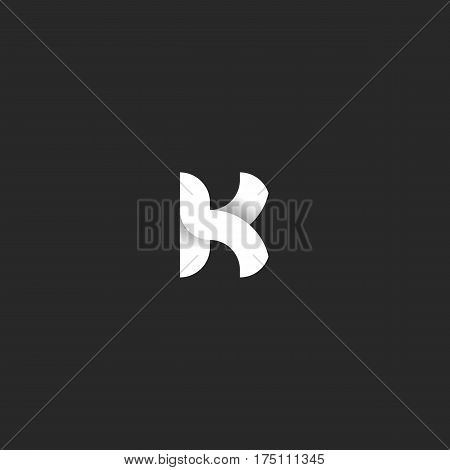 Logo K Letter Mockup Black And White Gradient Ribbon Shape. Intersection Smooth Lines Typography Des