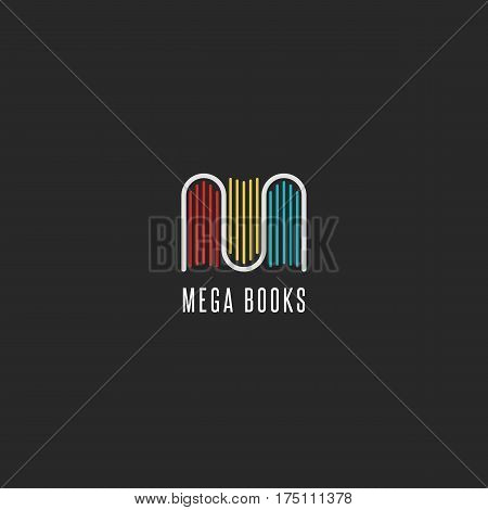 Bookstore logo idea colorful books logotype in the form of letter M emblem mockup for publishers libraries and encyclopedias.