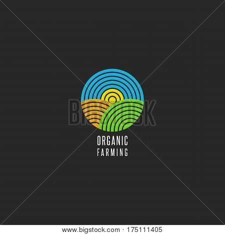 Organic farm logo round shape abstract line style agricultural landscape icon sky sun field grass for environmental emblem