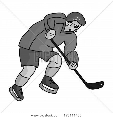 Hockey player in full gear with a stick playing hockey.Winter Olympic sport.Olympic sports single icon in monochrome style vector symbol stock web illustration.