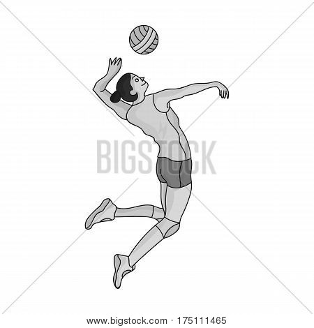 High athlete plays volleyball.The player throws the ball in.Olympic sports single icon in monochrome style vector symbol stock web illustration.