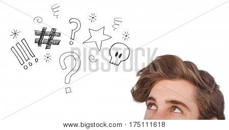 Digital composite image of man looking at graphics over head