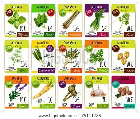 Price labels vector set for herbs, spices of marjoram, cilantro or lemongrass and celery, sorrel or fennel, onion, parsley and coriander, lavender or horseradish, poppy or garlic and nutmeg