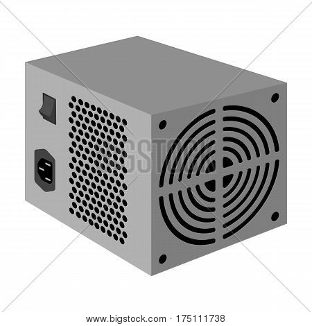 Power supply unit icon in monochrome design isolated on white background. Personal computer accessories symbol stock vector illustration.