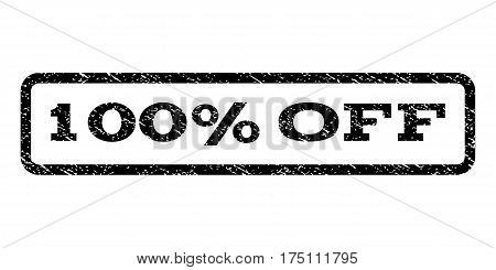 100 Percent Off watermark stamp. Text tag inside rounded rectangle frame with grunge design style. Rubber seal stamp with dirty texture. Vector black ink imprint on a white background.