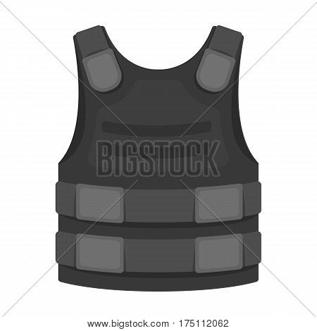 Bulletproof vest icon in monochrome design isolated on white background. Police symbol stock vector illustration.