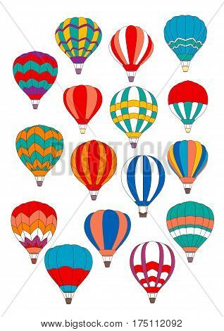 Hot air balloon icons of vector isolated inflated hopper or cloudhopper balloons aircraft with design patterns of zig zag, stripes and gondola or wicker basket in flight