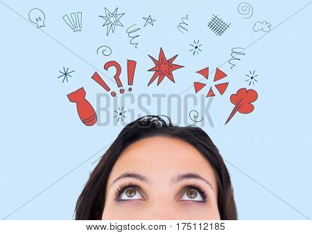 Digital generated image of woman looking at graphics sign