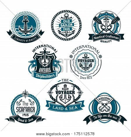 Nautical vector icons of marine ship anchor and helm, sailor compass or lifebuoy and sea waves. Heraldic emblems, ribbons and badges of seafarer or voyager, vessel craftsman or shipbuilder company poster