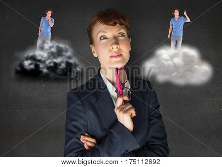 Digital generated image of businesswoman confused between being good or bad conscience