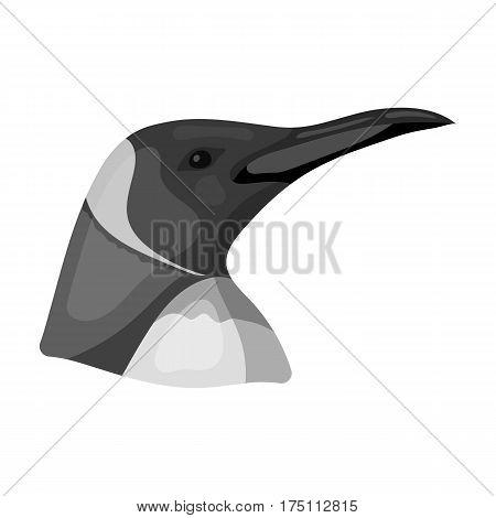 Penguin icon in monochrome design isolated on white background. Realistic animals symbol stock vector illustration.