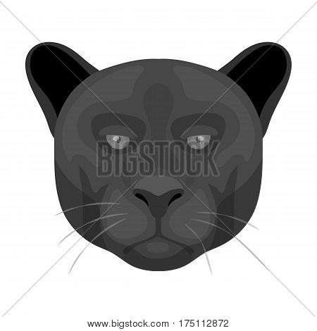 Black panther icon in monochrome design isolated on white background. Realistic animals symbol stock vector illustration.