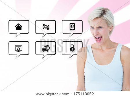 Digital composite image of frustrated woman standing next to application icons