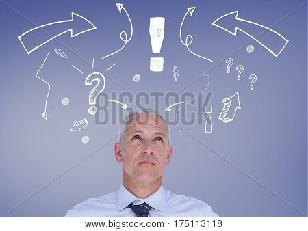 Composite image of confused man with exclamation mark, arrow sign and question mark against blue background