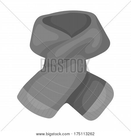 Stylish green scarf under a jacket.Scarves and shawls single icon in monochrome style vector symbol stock web illustration.