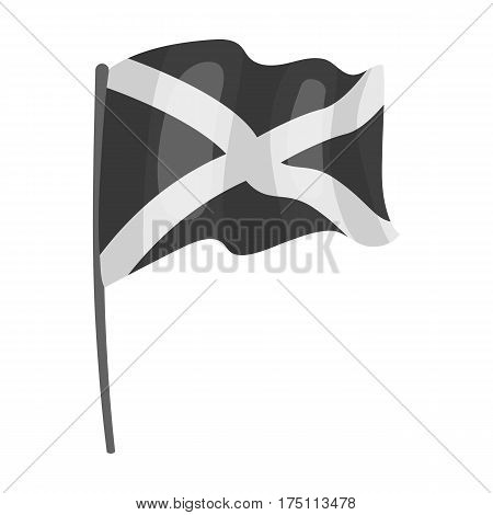 Flag of Scotland icon in monochrome design isolated on white background. Scotland country symbol stock vector illustration.
