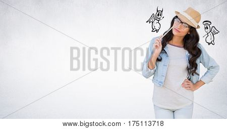 Conceptual image of confused woman between good and bad conscience against white background