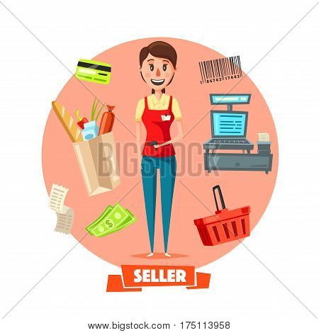 Shop seller or cashier profession with retail buy purchases on cash desk. Vector shopping cart, credit card, money banknotes and coins, vendor barcode for grocery store products and check receipt poster
