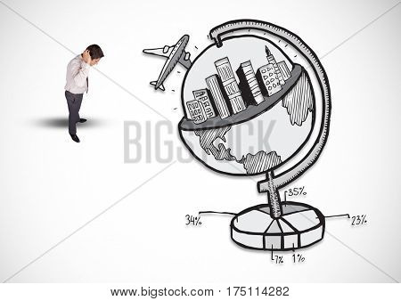 Digitally composite image of thoughtful businessman with tourism concept
