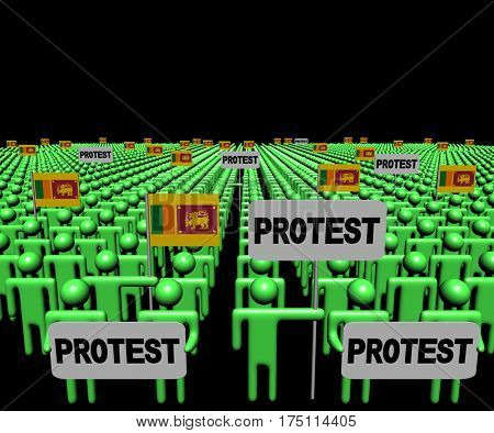 Crowd of people with protest signs and Sri Lankan flags 3d illustration