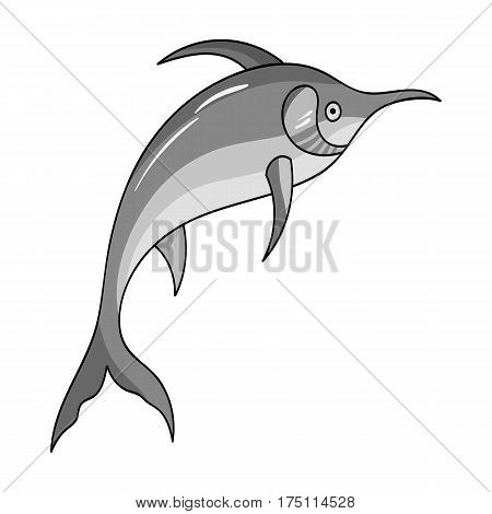 Marlin fish icon in monochrome design isolated on white background. Sea animals symbol stock vector illustration.