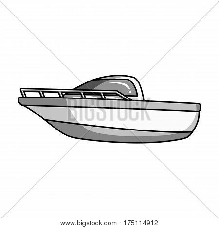 Blue metal boat.Police boat.A means of transportation on water.Ship and water transport single icon in monochrome style vector symbol stock web illustration.