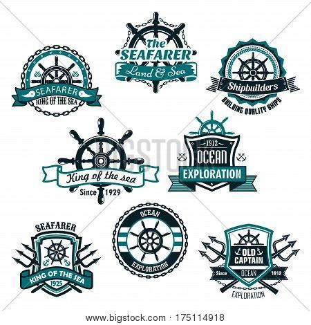 Nautical heraldic icons of marine ship anchor, trident and helm. Heraldry shields of sailor compass or lifebuoy and sea waves, ribbons and badges of seafarer or voyager and shipbuilder