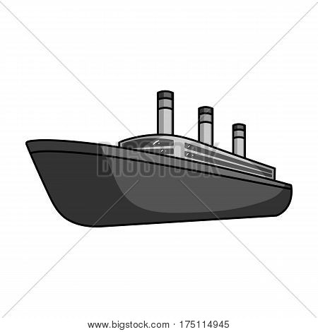 Huge cargo black liner.Ship for transportation of heavy thunderstorms on the sea and the ocean .Ship and water transport single icon in monochrome style vector symbol stock web illustration.