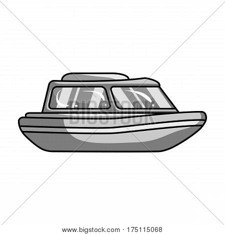 Orange rescue boat.Boat to rescue the drowning persons.Ship and water transport single icon in monochrome style vector symbol stock web illustration.