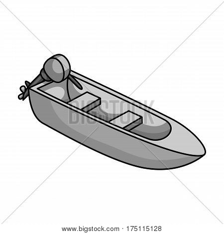 Small metal boat with motor for fishing.Boat for river or lake fishing.Ship and water transport single icon in monochrome style vector symbol stock web illustration.