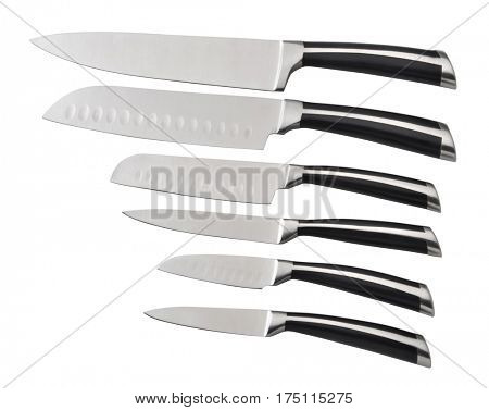 Set of forged steel kitchen knife on a white background, isolated