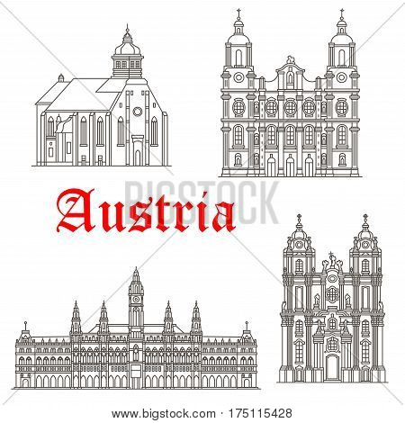 Austria historic architecture and Austrian famous buildings symbols. Vector isolated icons and facades of Graz and St James cathedral, Wiener Rathaus or Vienna town hall and Melk Abbey monastery