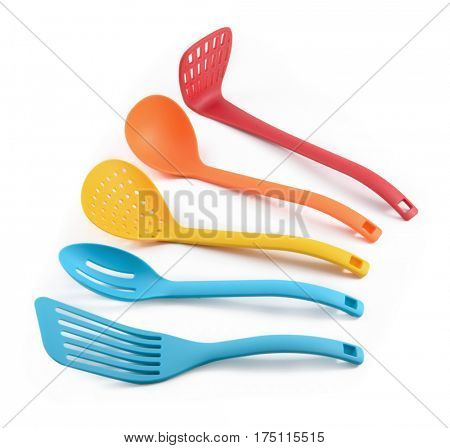 Set of plastic cooking utensils