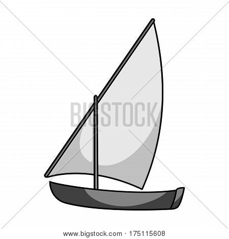 Little river sailing for fun.The boat which sails through the wind.Ship and water transport single icon in monochrome style vector symbol stock web illustration.