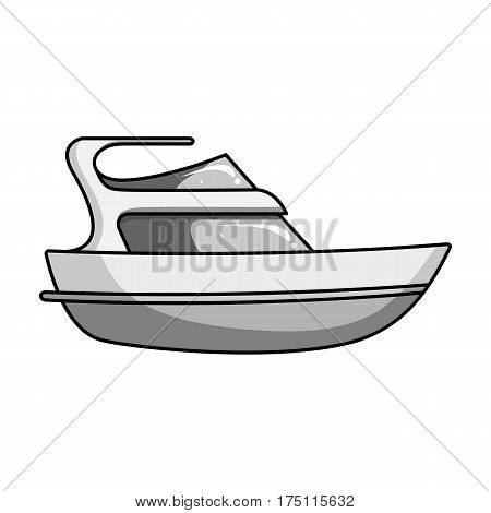 Expensive yacht for rich people.Yacht for vacations and short trips.Ship and water transport single icon in monochrome style vector symbol stock web illustration.
