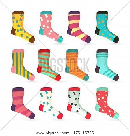 Child Socks Icons Vector. Colorful Socks Set