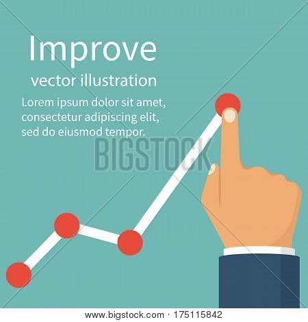 Improve business concept. Changing direction. Growth graph trade. Vector illustration flat design. Profit Stock Market. Man hold in hand business chart. Financial diagram.