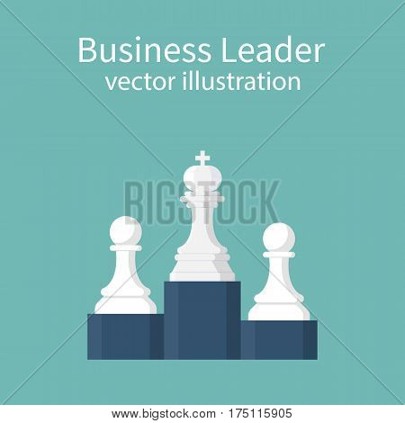 Business leader concept. Chess king and pawns on winners podium. Leadership first place. Success. Vector illustration flat design. Isolated on background.