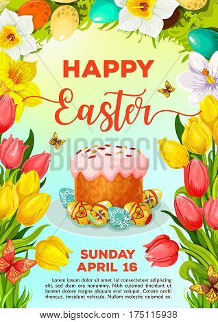 Easter Day celebration cartoon poster template. Easter cake and egg on plate, surrounded by tulip and narcissus flowers, floral wreath and butterfly. Easter holiday invitation flyer design