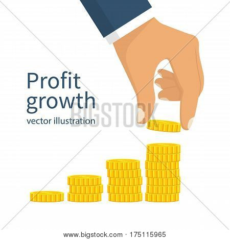 Hand holding golden coin. Vector illustration flat design. Isolated on white background. Financial and banking growth concept. Money on pile. Investment. Stack of coins.