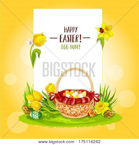 Easter Egg Hunt basket floral greeting card with copy space. Happy Easter and Egg Hunt greetings on blank paper, supplemented with Easter eggs, flowers of tulip and narcissus, basket on green grass