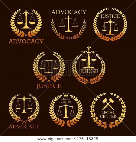 Justice and advocacy vector gold icons. Heraldic emblems of law scales and judge gavel, laurel wreath. Golden signs for legal center, advocate or court lawyer and judicial right attorney